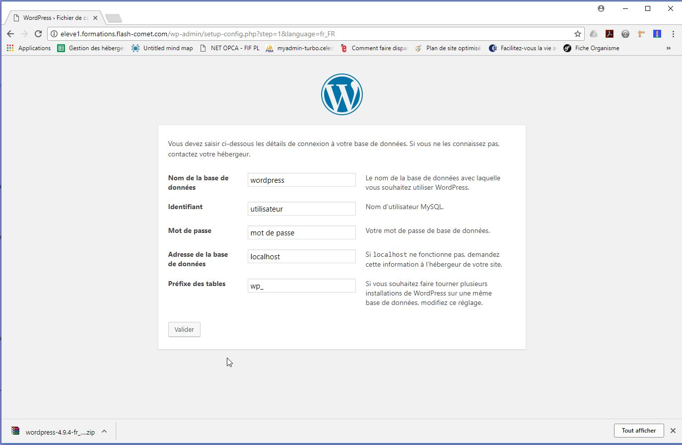 etape2 installation wordpress
